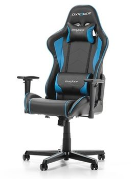 Gaming Chairs DXRacer - Formula GC-F08-NB-H1, Black/Black/Blue - PU leather, Gamer weight up to 100kg / growth 145-180cm, Foam Density 52kg/m3, 5-star Aluminum IC Base, Gas Lift 4 Class, Recline 90*-135*, Armrests: 3D, Pillow-2, Caster-2*PU, W-23kg