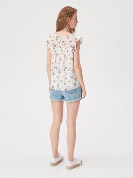 Блуза Sinsay Белый с цветами vp142-mlc