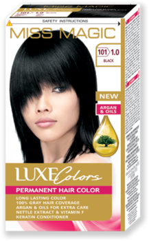 Краска для волос,SOLVEX Miss Magic Luxe Colors, 108 мл., 101 (1.0) - Чёрный