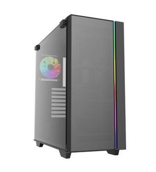 "DEEPCOOL ""MATREXX 55"" ATX Case, with Side-Window (full sized 4mm thickness), Tempered Glass Side & Front panel, without PSU, Tool-less,  RGB LED Strip pre-installed (in the front) + RGB button, Bottom mounted PSU, 1xUSB3.0, 1xUSB2.0 /Audio, Black"