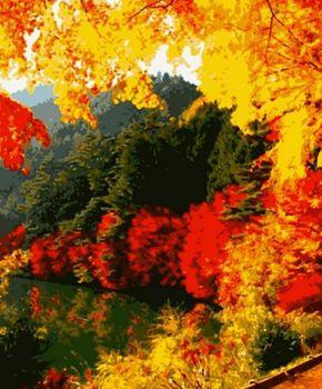 "PN0166 Картина по номерам Artissimo ""Яркая осень"", 4 *, 21 цвет, 40x50 см"