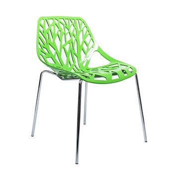 cumpără Scaun din plastic cu picioare cromate, spate perforat, 570x530x800 mm, verde în Chișinău