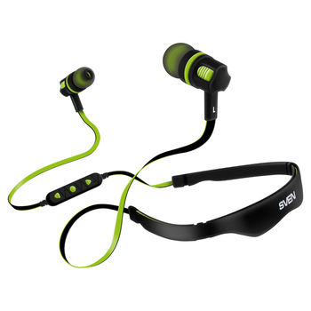 SVEN E-217B, Bluetooth Earphones with microphone, Bluetooth v.4.0, Call acceptance, operation time with battery up to 5 hours, range of action up to 10 m, track and volume control possibility, Black-Green