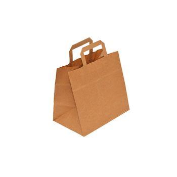 Бумажные крафт пакеты с плоскими ручками 26*17*26