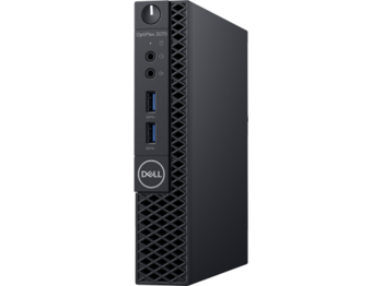 купить DELL OptiPlex 3070 MFF lntel® Core® i3-9100T, 4GB (1X4GB) DDR4, M.2 128GB PCIe NVMe SSD, no ODD, lnteI® UHD630 Graphics, Wi-Fi/AC-MU-MIMO/BT4.1, TPM, 65W PSU, USB mouse MS116 , USB KB216-B, Win10Pro, Black в Кишинёве
