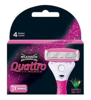 Сменные лезвия для бритвы Quattro for Women, 3 шт, 4 лезвия
