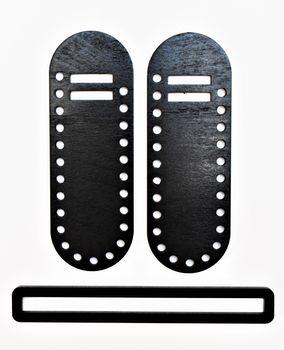 Set din lemn pentru geantă, negru / 20x7 cm