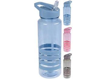 Бутылка питьевая EH 0.7l с трубочкой, пластик, разн цвет