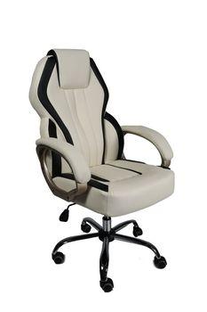 Офисное кресло MC 073 бежевое с черными линиями