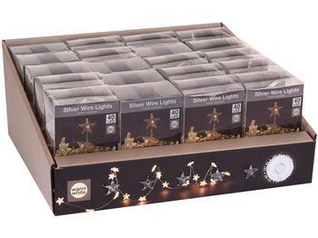 Огни новогодние Звезды 40 micro LED, 2m, 3XAA, тепл.-белые
