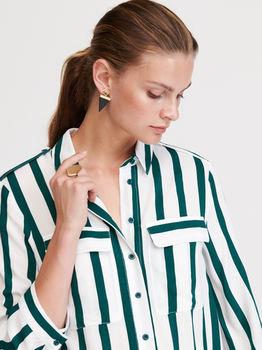Блуза RESERVED Белый в зеленую полоску xr539-mlc