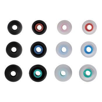 HAMA 122681 Silicone Replacement Ear Pads, size S - L, 12 pieces, black/transparent
