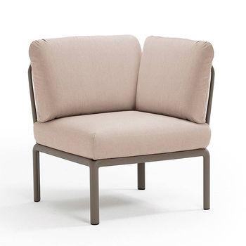 Кресло модуль угловой с подушками Nardi KOMODO ELEMENTO ANGOLO TORTORA-canvas Sunbrella 40374.10.141