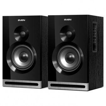 "SVEN SPS-625 Black,  2.0 / 2x20W RMS, headphone jack, wooden, (3""+1"")"