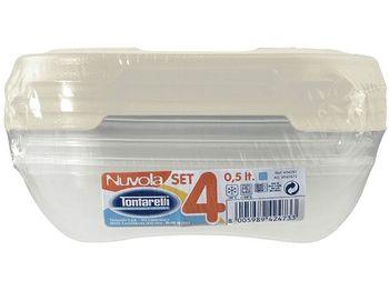 Набор емкостей пищевых  Nuvola 4шт 0.5l 15X15X3cm
