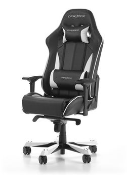 Gaming Chairs DXRacer - King GC-K57-NW-S3, Black/White/Black - PU leather & Carbon look PVC,Gamer weight up to 150kg/growth 160-195cm,Foam Density 54kg/m3,5-star Wide Alum Base,Gas Lift 4 Class,Recline 90*-135*,Armrests:4D,Pillow-2,Caster-3*PU,W-30kg
