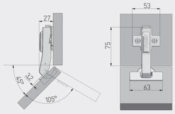 Balama 45º cu amortizor GTV