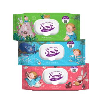 купить Влажные салфетки с клапаном Smile Decor Gapchinska, 60 шт. в Кишинёве