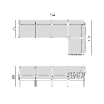 Диван с подушками c водоотталкивающей тканью Nardi KOMODO 5 AGAVE-TECH panama 40370.16.131 (Диван с подушками c водоотталкивающей тканью для сада и терас)
