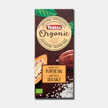 Ciocolata neagra 70%, cu sare de mare, bio f/a gluten Torras 100g