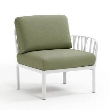 Кресло модуль правый / левый с подушками Nardi KOMODO ELEMENTO TERMINALE DX/SX BIANCO-giungla Sunbrella 40372.00.140