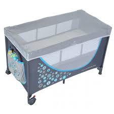 Кроватка туристическая с комплектом принадлежностей, серо-голубая