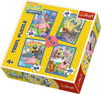 """34264 Trefl Puzzle - """"4in1"""" - SpongeBob and Patrick / Viacom SpongeBob"""
