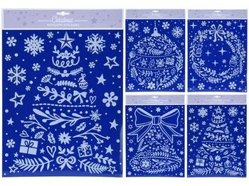 Набор новогодних наклеек 42X30cm, голубой, 4 дизайна