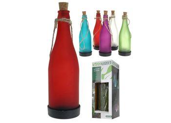 "Фонарь на солнечной батарее ""Бутылка"" H23.5cm, стекло"