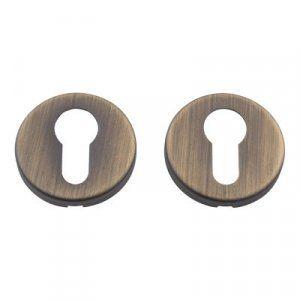 Дверная ручка на розетке Adele матовая бронза  + накладка под цилиндр