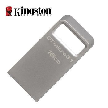 16GB USB3.1 Kingston DataTraveler Micro 3.1, Metal casing, Compact and lightweight, World's smallest USB Flash drive (Read 100 MByte/s, Write 10 MByte/s)