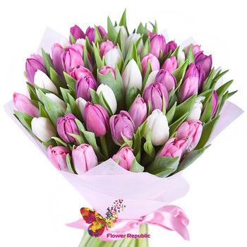 купить 45 Разноцветных тюльпанов в Кишинёве