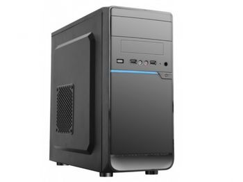 HPC D-08  mATX Case, (500W, 24 pin, 2xSATA, 12cm fan), 2xUSB2.0 / HD Audio, Shiny Black + Blue decoration