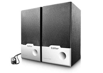 "Edifier R18USB   Black, 2.0/ 4W (2x2W) RMS, USB Powered & Audio, wired control, wooden, (3"")"