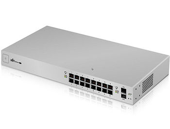 "Ubiquiti UnFi Switch 16 (USW-16-POE), 16-Port 802.3at PoE Gigabit Switch with SFP, 2-ports SFP, POE+ IEEE 802.3at/af, PoE Output 42W, 1.3"" Touchscreen display, Non-Blocking Throughput: 18 Gbps, Switching Capacity: 36 Gbps, Rackmountable"