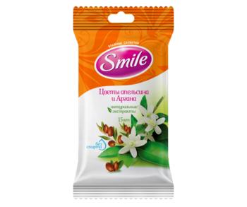 Влажные салфетки Smile Цветы апельсина и Аргана, 15 шт