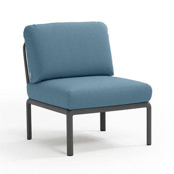 Кресло модуль центральный с подушками Nardi KOMODO ELEMENTO CENTRALE ANTRACITE-adriatic Sunbrella 40373.02.142