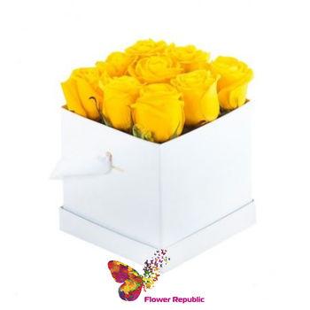 купить Розы в белой квадратной коробке в Кишинёве