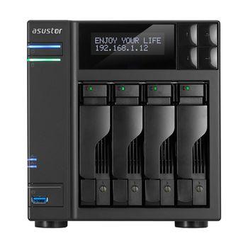 "4-bay NAS Server  ASUSTOR ""AS6204T"", Intel Celeron N3150 (Quad-Core) 1.6-2.24GHz, 4GB DDR3L(Max.8GB), 2.5""/3.5""SATA x4 (Hot Swap), LCD Panel, USB3.0 x3, USB2.0 x2, eSATA x2, Gigabit LAN x2, HDMI, S/PDIF, AES-NI, HT, IR, Surveillance: <25 (4 Free)"