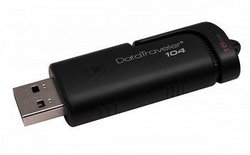 16GB USB2.0  Kingston DataTraveler 104 Black, Stylish black casing with a sliding cap design (Read 18 MByte/s, Write 10 MByte/s)
