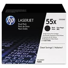 HP 55X Dual Pack High Capacity Black Cartridge for LJ P3015, up to 2*12500 pages
