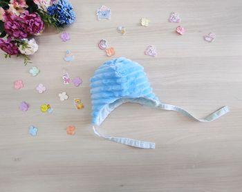 Шапочка на завязочках Плюш Blue (0-1 месяцев)