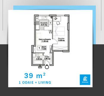 cumpără Apartament cu 1 camere + living - 39 m.p. în Chișinău