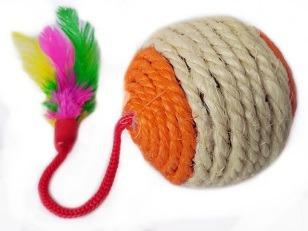 купить Игрушка веревочная с перьями, разные цвета, R1006-5 в Кишинёве