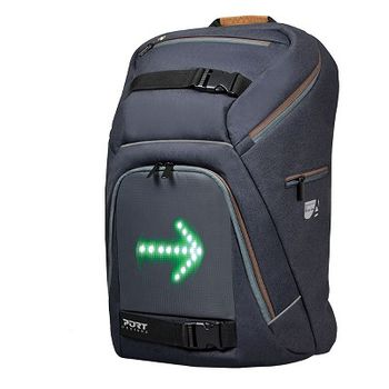 "15.6"" NB Backpack - PORT GO LED, Grey/Brown, Main Compartment: 50 x 31 x 28 cm, Dimensions: 38.5 x 26 x 35 cm, Integrated indicator light display, Remote controller pocket, Removable raincover"