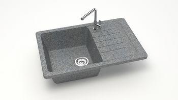 купить Матовые кухонные мойки из литьевого мрамора  (темн.сер.)  F016Q8 в Кишинёве