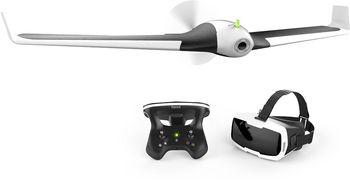 (43475) Parrot Disco FPV - Fixed-wing drone, RC-Parrot Skycontroller 2, Parrot Cockpitglasses, 1080p Full HD, 360p/720p  camera, max. 2000m radius/ 80 kmph speed, flight time 45 min, Battery 2700 mAh, 750g, Black-White