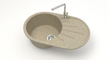 купить Матовые кухонные мойки из литьевого мрамора  (песочный.) F110Q5 в Кишинёве