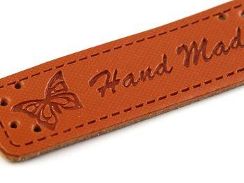 Eticheta din piele ecologică Handmade / maro