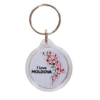 купить Брелок круглый пластиковый – I love Moldova в Кишинёве